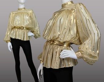 VINTAGE 70s GOLD LAME & Chiffon Striped Blouse w/ Bishop Sleeves Luxe Boho Size S-M