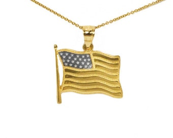 14k Yellow and White Gold American Flag Necklace