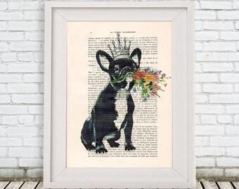 LOVE Bulldog Print, DICTIONARY Art Print, Dictionary Paper, Giraffe Decor Bulldog Wall Art, Bulldog Painting, Bulldog Drawing Artwork Poster