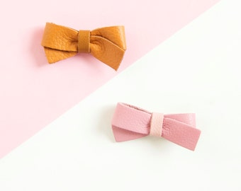 Baby Girl Leather Hair Bow Crocodile Clip or Soft Nylon Headband, Pink Brown, Adult Bow, Baby Bow, Soft Nylon Bow, Newborn Bow, Leather Bows
