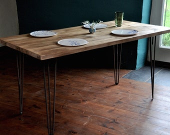 Dining Table Reclaimed Industrial Rustic Wood Table Hairpin legs Vintage Scaffold Wood Table Rustic Scaffold Board Furniture