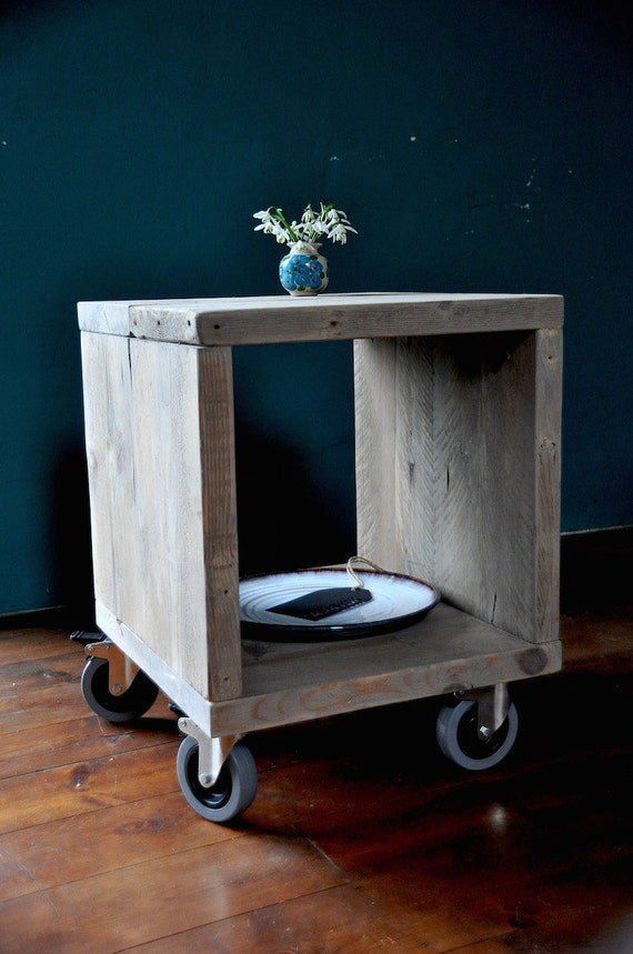 Rustic Wood Bedside Table: Reclaimed Wood Bedside Side Table Industrial Rustic By 7MAGOK