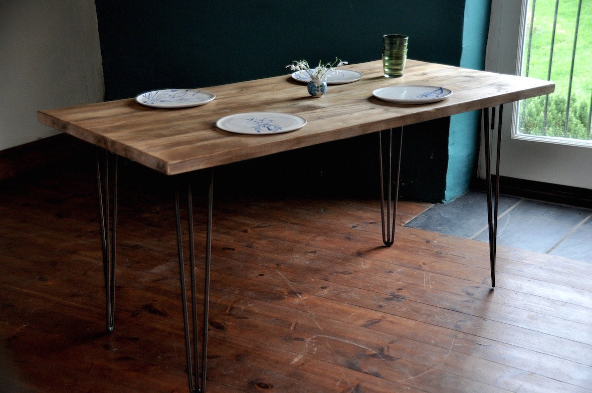 Industrial Rustic Reclaimed Wood Dining Table Hairpin Legs