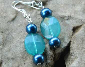 Aqua and blue beaded drop earrings, beaded earrings, dangle earrings, blue earrings, aqua earrings