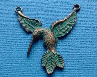 2 Hummingbird Charm Pendants Verdigris Patina  - PC2436