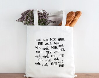 Funny Tote Bag, Meh Tote Bag, Snarky Tote Bag, Humor Tote Bag, Canvas Bag, Market Bag, Shopping Bag, Reusable Grocery Bag 0147