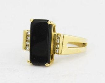 Vintage 1970s Onyx  Ring, 14k Gold Rectangle Onyx Diamond Ring, Black Stone Ring