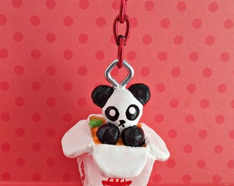 Kawaii Chinese Takeout Box Panda Keychain