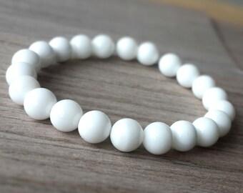 White Tridacna Bracelet, Mala Healing Jewelry Yoga Bracelet,Meditation Bracelet, women Men Healing Bracelet B37