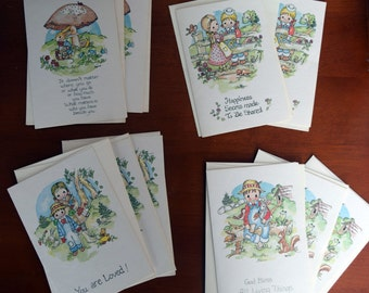 Set of animal/child note cards/blank inside/verse on cover/unused/'watercolor' print/friendship/religious/farm girl