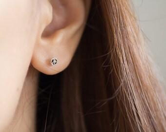 Tiny Peace Studs, Peace Ear Studs, Peace Earrings, Round Ear Studs, Peace Sign Earrings, Tiny Peace Earring, Cartilage Stud