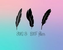 Feather SVG DXF files for Silhouette studio, Svg Files for Cricut Design Space, Hippy cutting files, Instant Download, Feathers DIY cutting