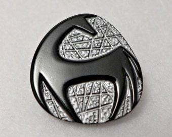 Czech glass button - black, white - 27mm