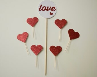 Set of Cake Topper and Cupcake Topper Love Glitter Red