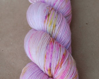 Hand Dyed Speckled Sock Yarn Superwash Merino Nylon: Morning Glory