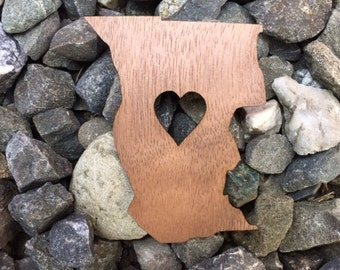 Mendocino County California Lover Emerald Triangle Hill Life Laser Cut Walnut Wooden Sticker