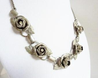 Vintage Roses Rhinestone Choker Necklace 1950s