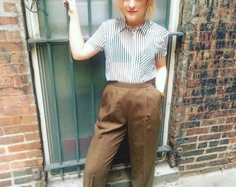 1980's Vintage Harve Benard brown high-waist/wide leg pants