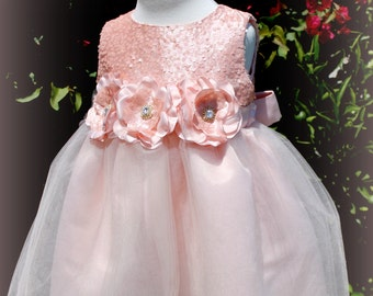 Flower girl, wedding dress,couture infant dress, girl dress, special occasion dress, BLush Pink girl dress