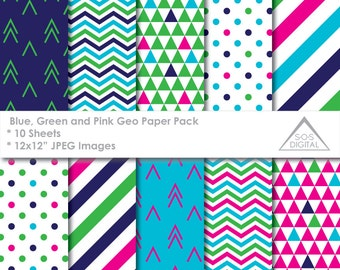 Blue, Green and Pink Digital Paper, Geometric Triangles, Chevron, Stripes, Scrapbook Paper, Printable JPEG Paper, modern pattern,commercial