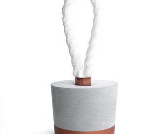 Concrete Door Stopper - Round Door Stop Decoration with White Rope and Copper Paint