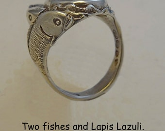 Two fishes and Lapis Lazuli ring