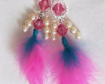 Pink Chandelier Feather Earrings with Swarovski Crystals/Gift for Her/Valentine Gift