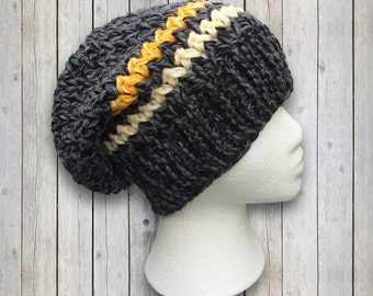 Thick Charcoal Yellow Striped Slouchy Beanie Hat Warm Winter Wool Knit Crochet Hat for Women Men 0002