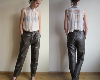 vintage leather tapered leg high waisted trousers UK 8 10