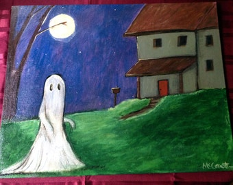 The Ghost Who Roamed & Moaned For A New Home ~ Original Acrylic Painting by LeanneM ~