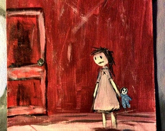 The Red Door ~ Original Acrylic Painting by LeanneM ~