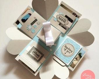Love Explosion Box // Love Exploding Box // // Surprise exploding box card // Grey Blue explosion box card