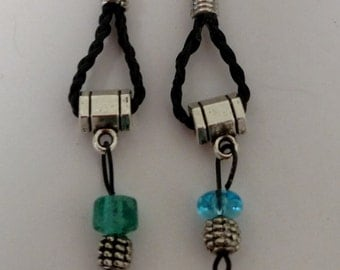 Black Braided Leather Earring with Blue and Green Stones