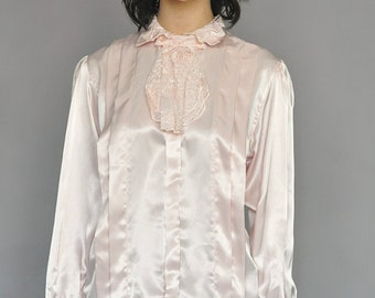 Pink Long Sleeved Lace Top Blouse Vintage 80s