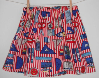 Red and white striped girl's kawaii elastic waist knee length skirt (sizes 0 - 10 years)