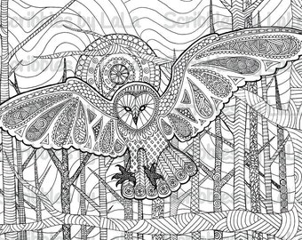printable adult coloring page owl high quality pdf instant download - High Quality Coloring Pages