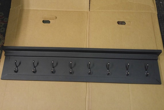 48 wall mounted coat rack hallway shelf black by jerseywoodshop. Black Bedroom Furniture Sets. Home Design Ideas