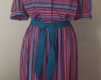 Vintage 70's Purple STRIPED Dress Size M
