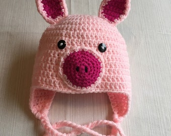Crochet Pig Hat, Character Hat, Pig Hat, Crochet Pink Pig Hat, Farm Animal, Animal Hat, Pink Pig Hat, Costume Hat, Photo Prop, FREE SHIPPING