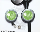 Dandelion Wishes Retractable Badge Reel Id Holder or Stethoscope Id Tag in 6 colors, Personalized Name, Initial, Monogram, Occupation (A212)