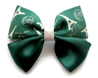 Paris Green Ribbon. Hair Bow. Hair Clip. Hair Ribbon. Hues of Green and White.