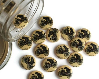 15 Pieces Vintage Carriage Wood Button.