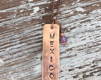 Mexico charm necklace personalized hand stamped copper destination pendant