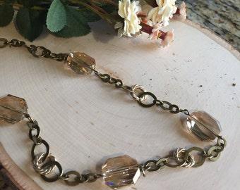 Golden Shadow Swarovski Elements Brass Necklace
