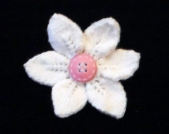 Flower with six petals openwork knitted brooch