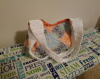 Colorful quilted crochet handle handbag tote bag purse