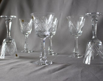 Christmas SALE - Vintage Crystal Wine  Glasses
