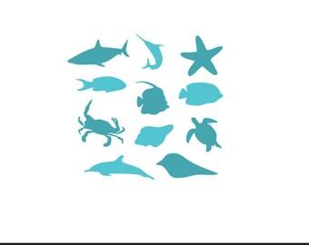sea creatures svg dxf file instant download stencil silhouette cameo cricut clip art boy nursery animals