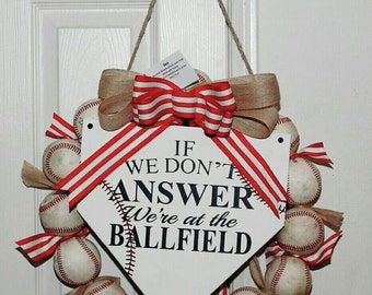 "Baseball Wreath - 16"" Round, Wreath, Baseball, Homeplate"