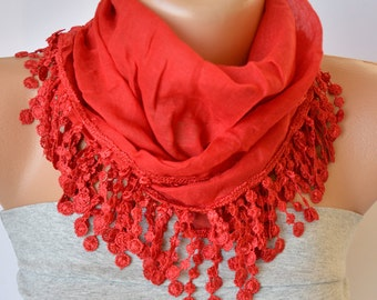 Red Cotton Scarf- Red Cotton with Lace Trim Scarf- Boho Scarf- Headband